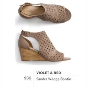 Beautiful Violet and Res Nude Wedges with cutouts
